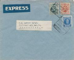 319/20 - Lettre EXPRES TP Houyoux Et Lion Cachet De Gare De WERVIK 1931 Vers BRUXELLES - 1922-1927 Houyoux