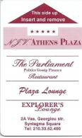 Llave Clef Key Keycard HOTEL ATHENS PLAZA GREECE - PUBLICITY REVERSE WATCH MONT BLANC - Hotel Labels