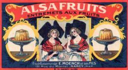 """Nancy 54  Publicite Ancienne """" Alsa Fruit """" Etablissements E.moench Et Ses Fils A Nancy - Advertising"""