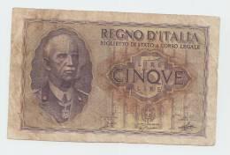 ITALY 5 Lire 1940 AVF P 28 - [ 1] …-1946 : Kingdom
