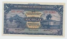 Trinidad & Tobago 1 Dollar 1943 AXF+ CRISP Banknote P 5c  5 C - Trinidad & Tobago