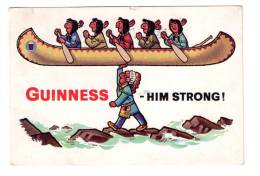 POSTCARD GUINNESS ADVERTISING CARD RED INDIANS NATIVE AMERICANS HIM STRONG 1964 - Advertising