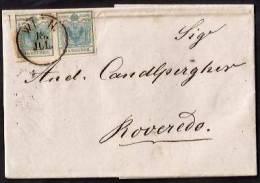 E164  - COPPIA DEL 9 KR PER ROVERETO - Briefe U. Dokumente