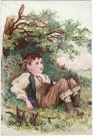 CHROMO Campagne Enfant Garçon Oiseau Rouge-gorge Fourche - Chromos