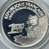 France 1 1/2 Euro 2002 1er Vol Au Dessus De L'Atlantique Lindberg Argent BE Proof PP KM 1310 - France