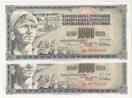 Yugoslavia 1000 Dinara 1978. UNC WITH AND WITHOUT ERROR GUVERNE - Yougoslavie