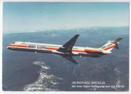 TRANSPORT AIRPLANES MCDONNELL-DOUGLAS MD-83 AERO LLOYD GERMANY BIG POSTCARD - 1946-....: Moderne