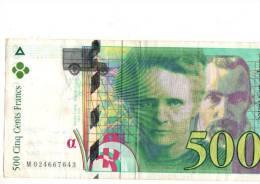Billet De 500 Francs Pierre Et Marie Curie - 1992-2000 Laatste Reeks
