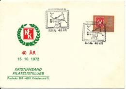 Norway Cover Kristiansand Filatelistklubb 40th Anniversary With Special Postmark And Cachet - Noorwegen