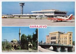 TRANSPORT AERODROMES SARAJEVO BOSNIA YUGOSLAVIA BIG POSTCARD - Aerodrome