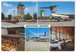 TRANSPORT AERODROMES ZAGREB CROATIA YUGOSLAVIA BIG POSTCARD 1971. - Aerodrome