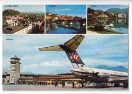 TRANSPORT AERODROMES BRNIK LJUBLJANA SLOVENIA YUGOSLAVIA BIG POSTCARD 1976. - Aerodrome