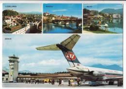 TRANSPORT AERODROMES BRNIK LJUBLJANA SLOVENIA YUGOSLAVIA BIG POSTCARD 1982. - Aerodrome