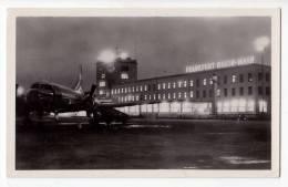TRANSPORT AERODROMES FRANKFURT RHEIN- MAIN BY NIGHT GERMANY OLD POSTCARD 1955. - Aerodrome