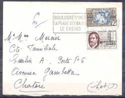 LETTRE  Cachet  BOULOGNE Sur MER   Le 5 7 1957  Composee De 2 Timbres  COUR DES COMPTES  Et  Gaston PLANTE - Covers & Documents