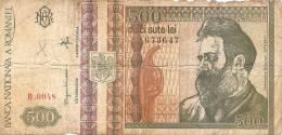 2 PIECES OF 500 LEI 1992 - ROUMANIA;RUMANIA; ROMANIA -BANKNOTE;BILL;GELD;PAPER MONEY - Romania