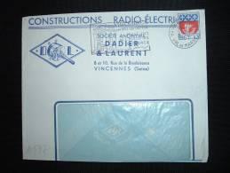 LETTRE TP BLASON PARIS 0,30F OBL. MEC. 29-9-1967 VINCENNES PPAL (94 VAL DE MARNE) + DADIER & LAURENT RADIO-ELECTRIQUES - Advertising