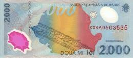 2000 LEI 1999 : / FIRST POLYMER BANKNOTE IN EUROPE. / THIS NOTE FEATURES THE EVENT OF THE ECLIPSE ON AUGUST 1999. - Roemenië