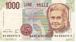 2 PIECES OF 1000 LIRE 1990 ITALY,BANKNOTE,BILL,PAPER MONEY. - 10000 Liras