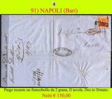 Bari-00091 - Piego (con Testo), Recante Un Francobollo Da 2 Grana, II Tavola. - Napoli