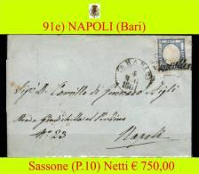 Bari-00091e - Piego (con Testo). Combinazione Di Bollature Sassone Punti 12 - - 1861-78 Vittorio Emanuele II