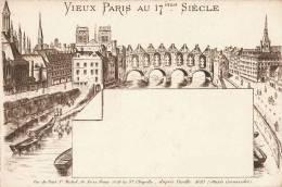 EAU-FORTE DE REVELLAT D'APRES UNE GRAVURE DE PERELLE LE VIEUX PARIS AU 17eme SIECLE PONT ST-MICHEL NOTRE-DAME - France