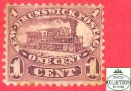 Canada  New Brunswick # 6 Scott /Unisafe - O - 1 Cent - Locomotive - Dated 1860 / Train - Used Stamps