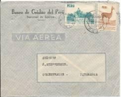 Peru Air Mail Cover Sent To Denmark 1956 - Peru