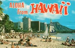 "Etats-Unis- Aloa From Hawaii-Honolulu Waikiki Beach (philatélie Timbre Oblitéré Stamp ""Peoples´s Right ...USA 10c"" - Honolulu"