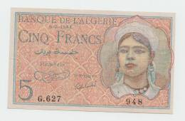 Algeria 5 Francs 8-2-1944 VF++ Banknote P 94a 94 A - Algeria