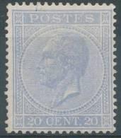 N° 18Aa, (*), Neuf Sans Gomme, 20c Bleu-ciel, De La Plus Grande Fraîcheur. Superbe, Cote 160 Eur - 1865-1866 Profiel Links