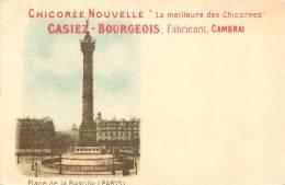CARTE PUBLICITAIRE CHICOREE NOUVELLE CASIEZ BOURGEOIS THEME PARIS PLACE DE LA BASTILLE - Pubblicitari
