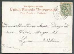 5 Centimes Blanc Obl. Dc JERUSALEM PALESTINE S/C.V. Du 29-09-1907 Vers Lyon - 8440 - Levant (1885-1946)