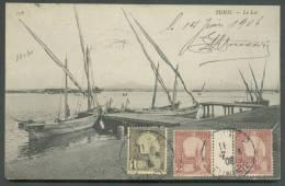 1 Centime + 2 Centimes (paire Interpanneau Et Millésime 7) Obl. Sc TUNIS S/C.V. (Le Lac De Tunis) Le 15-08-1908 Vers Anv - Tunisie (1888-1955)