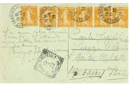 STRISCIA DI 5 VALORI DA 5 C. DA TARASCON PANORAMA  - PROVENZA ( CARTOLINA ) VERSO MESSINA - SANT'AGATA DI MILITELLO - Storia Postale