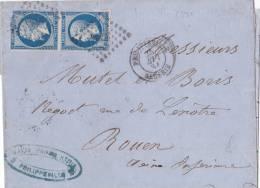 8391# Y&T N° 14B PAIRE / LETTRE Obl PC PHILIPPEVILLE ALGERIE 1861 T15 ROUEN SEINE MARITIME - Marcophilie (Lettres)