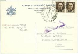 POSTA MILITARE - CARTOLINA DA: PONTIFICIO SEMINARIO CAMPANO - ANNO 1944 - ANNULLO A.C.S. - Eritrea