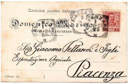 1903  CARTOLINA INTESTATA  CON ANNULLO CATANZARO  + PIACENZA - Marcofilía