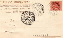 1922  CARTOLINA INTESTATA  CON ANNULLO CASTELLAMMARE ADRIATICO    + AVEZZANO AQUILA - Marcofilie