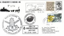 BREST NAVAL - AVISO COMMANDANT BLAIS - POSTE EN MER - PSEUDO ENTIER POSTAL DE GAULLE AVEC AFFRANCHISSEMENT DU 15-6-1994. - Poste Navale