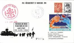 BREST NAVAL - CHASSEUR DE MINES CROIX DU SUD - POSTE EN MER - PSEUDO ENTIER POSTAL DE GAULLE AVEC AFFRANCHISSEMENT - Poste Navale