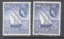ADEN , 1953 35c VLMM (2 Shades), Cat £9 - Aden (1854-1963)