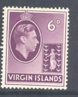 VIRGIN ISLANDS, 1938 6d (chalky Paper) Light Mounted Mint, Cat £9.50 - Britse Maagdeneilanden