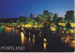 PORTLAND Oregon - Skyline, SHIP Waterfront When Navy Ships Dress For The Rose Festival, Air Mail - Portland