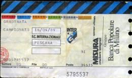 Ingresso  A San  Siro  Campionato  Serie  A Inter -Pescara  Del  16/04/1989 - Biglietti D'ingresso