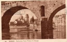 1928 CARTOLINA VERONA  -  PARTICOLARE PONTE PIETRA  E S. GIORGIO - Trieste