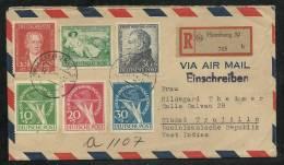 GERMANY 1950, Backstamped Registered Cover R705  Scott No. 9NB1-3, 9NB3a - [7] République Fédérale