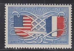 = Amitié Franco Américaine Ecussons Etats-Unis Et France N° 840 25f Bleu Et Rouge - Unused Stamps