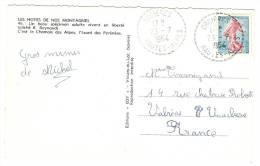 Timbre à Date Pointillé Bureau Distribution ORCIERES Hautes Alpes 23-07-1964 Sur Semeuse De Piel YT 1233 CPA Chamois - Marcophilie (Lettres)