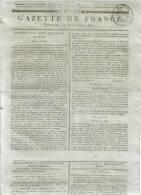 JOURNAL QUOTIDIEN GAZETTE DE FRANCE N° 255 DU 11 SEPTEMBRE 1807 - Ce Journal N´est Pas Une Reproduction - Kranten